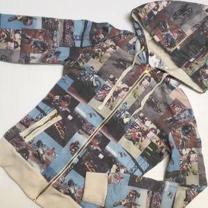 Motocross collar zip up hoodie, M